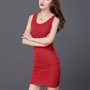 Striped Round Neck Body Fitted Mini Dress - Red