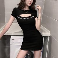 Alphabetic Prrinted Body Fitted Mini Dress - Black