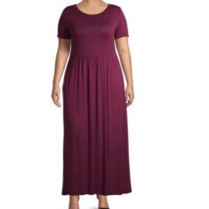 Ruffled Hem Plus Size Round Neck Short Sleeves Maxi Dress - Wine Red