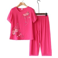 Thread Art Floral Two Peices Elastic Bottom Women Fashion Suit - Hot Pink