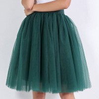 Pleated Elastic Waist A-Line Short Skirt - Green