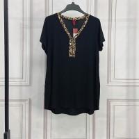 Leopard Printed V Neck Solid Color Blouse Top - Black