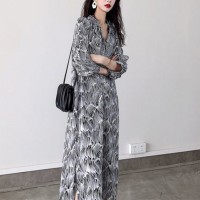 Digital Printed Stand Neck Quarter Sleeves Midi Dress - Black and White
