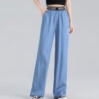 Elastic Waist Solid Color Women Fashion Trouser Pants - Blue
