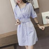 Shirt Collar Button Closure Stripes Printed Vintage Fashion Mini Dress