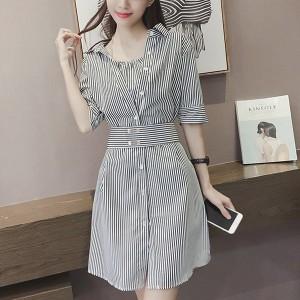 Shirt Collar Button Closure Stripes Printed Vintage Fashion Mini Dress - Black and White