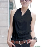 Halter Neck Sleeveless Solid Color Blouse Top - Black