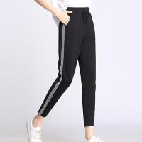 Elastic Waist Narrow Bottom Sports Wear Trouser - Black