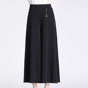 Loose Wear Solid Color Palazzo Skirt Style Trouser Pants - Black