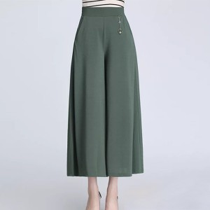 Loose Wear Solid Color Palazzo Skirt Style Trouser Pants - Green