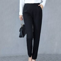Pleated Solid Color Formal Office Wear Women Fashion Pants - Black