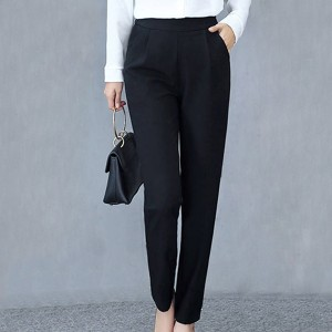 Pleated Solid Color Casual Wear Women Fashion Pants - Black