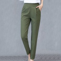 Pleated Solid Color Formal Office Wear Women Fashion Pants - Green