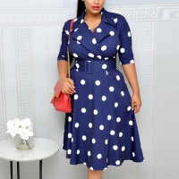 Suit Neck Half Sleeves Polka Dotted A-Line Dress - Blue