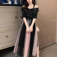 Acrylic Skirt Elegant Wear A-Line Full Maxi Dress