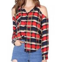 Halter Neck Cold Shoulder Full Sleeves Women Fashion Summer Blouse Shirt Top - Black Red