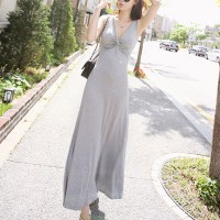 Sleeveless String Bust Full Length Solid Maxi Dress - Gray