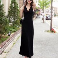 Sleeveless String Bust Full Length Solid Maxi Dress - Black