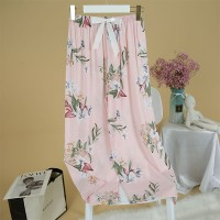 Animal Print Elastic Waist Narrow Bottom Trouser Pants - Pink