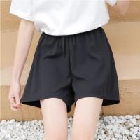 Elastic Solid Color Casual Shorts - Black