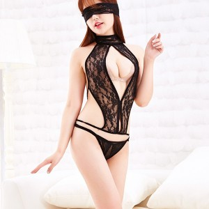 Women See Through sexy temptation leaking back exposed Sexy Lingerie Set - Black