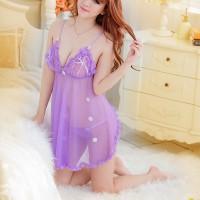 Women See Through Back Slit Flower Suspender Sexy Lingerie Set - Light Purple