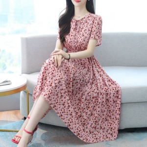 New Arrives Women Fashion Printed Casual Dress - Pink