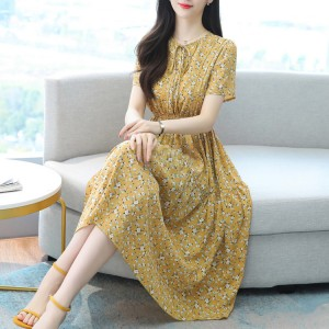 New Arrives Women Fashion Printed Casual Dress - Yellow