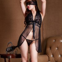 Women See Through Front Cardigan Sexy Lingerie Set - Black