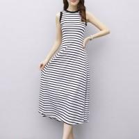 Stripes Printed Round Neck Sleeveless Full Length Dress - White