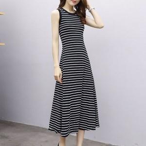 Stripes Printed Round Neck Sleeveless Full Length Dress - Black