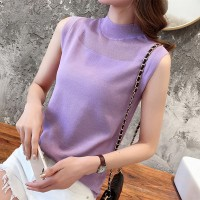 O Neck Sleeveless Solid Color Blouse Top - Purple