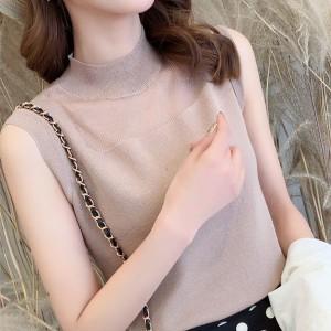 O Neck Sleeveless Solid Color Blouse Top - Khaki