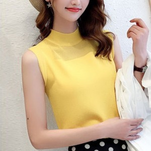 O Neck Sleeveless Solid Color Blouse Top - Yellow