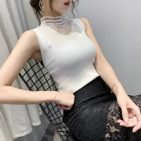 Ruffled Lace See Through Body Fitted Ribbed Blouse Top - White