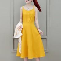 Button Closure Strap Shoulder Midi Dress - Yellow