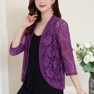 Quarter Sleeves Floral Hollow See Through Outwear Cardigan - Purple