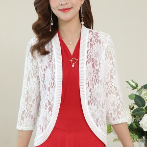 Quarter Sleeves Floral Hollow See Through Outwear Cardigan - White