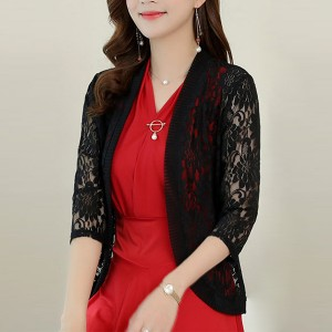 Quarter Sleeves Floral Hollow See Through Outwear Cardigan - Black