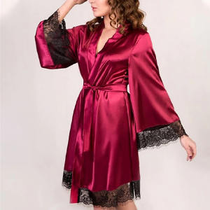 Lace Patched Nightwear Satin Sleep Gown - Wine Red