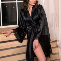 Lace Patched Nightwear Satin Sleep Gown - Black
