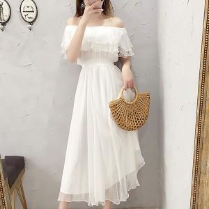 Off Shoulder Chiffon Maxi Dress - White