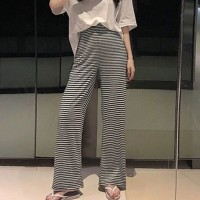 Stripes Printed Bell Bottom Straight Trouser Pants - Black and White