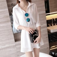 Shirt Collar Quarter Sleeves Solid Color Mini Dress
