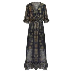 Printed V Neck Chiffon Beach Wear Maxi Dress - Black