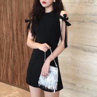 Sleeveless O Neck Mini Fitted Dress - Black
