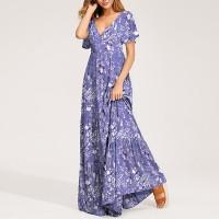 Deep V Neck Short Sleeves Floral Printed Maxi Dress - Purple