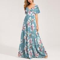 Deep V Neck Short Sleeves Floral Printed Maxi Dress - Green