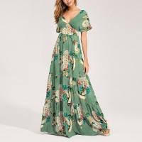 Deep V Neck Short Sleeves Floral Printed Maxi Dress - Multicolor