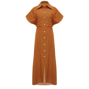 Shirt Collar Short Sleeves Loose Maxi Dress - Orange